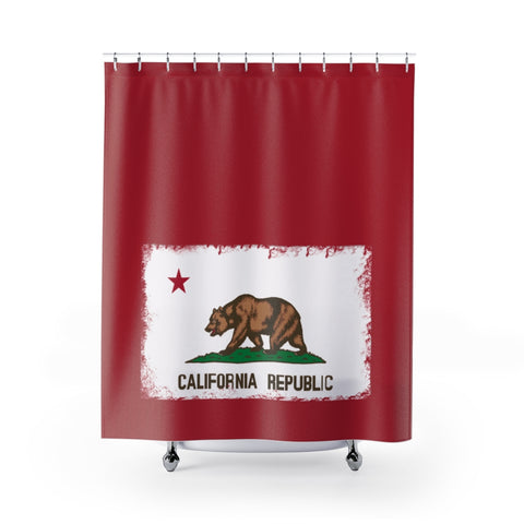 California Republic Flag Shower Curtain with Word