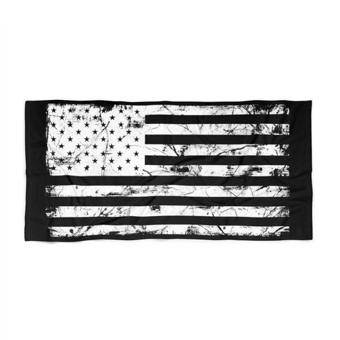 Large Black and White American Flag Beach Towel Grunge