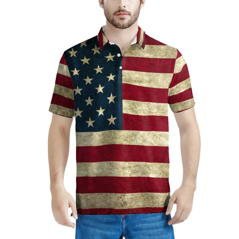 Vintage All Over Print USA Flag Polo Shirt