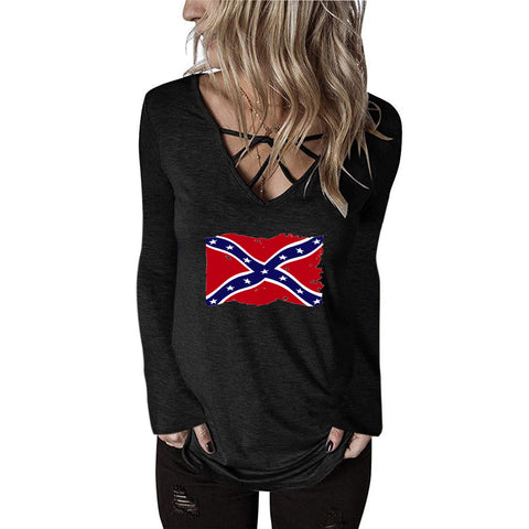 Rebel Flag Women's V Neck Long Sleeve