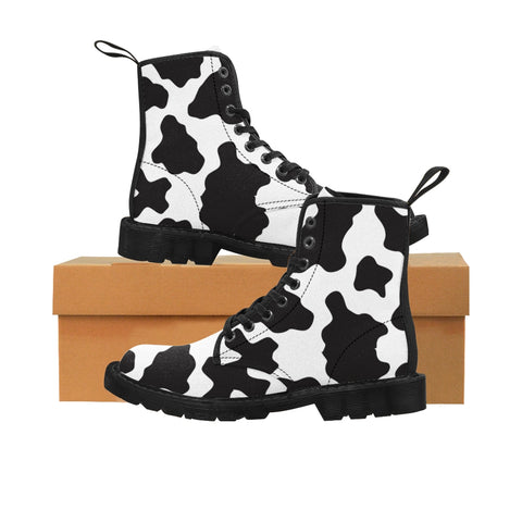 Women's Cow Spots Pattern Canvas Boots