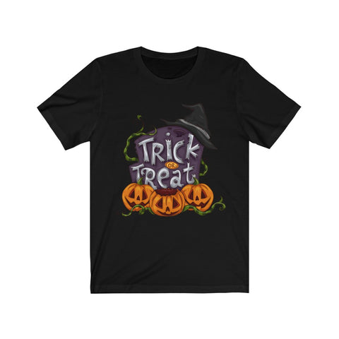 Ladies Trick Or Treat Pumpkins and Witches Hat T Shirt