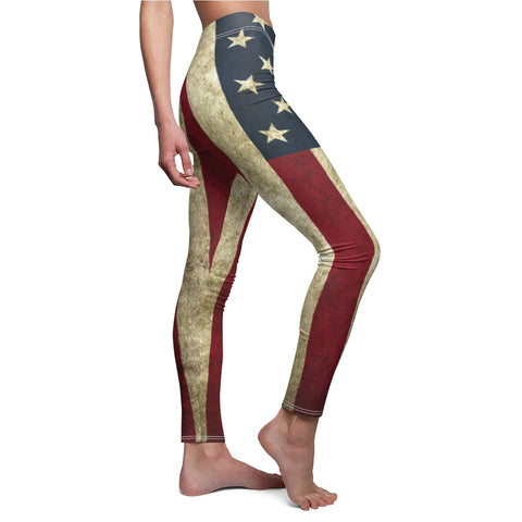 American Flag Grunge Leggings For Patriotic Support