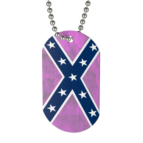 Southern Dixie Pride Pink Flag Dog Tag Necklace