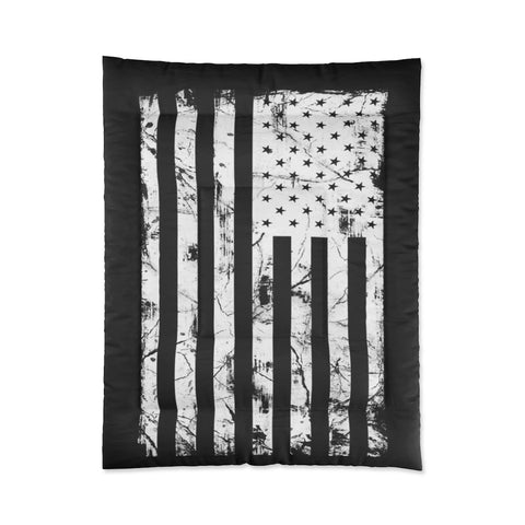 Black and White American Flag Comforter Grunge Look
