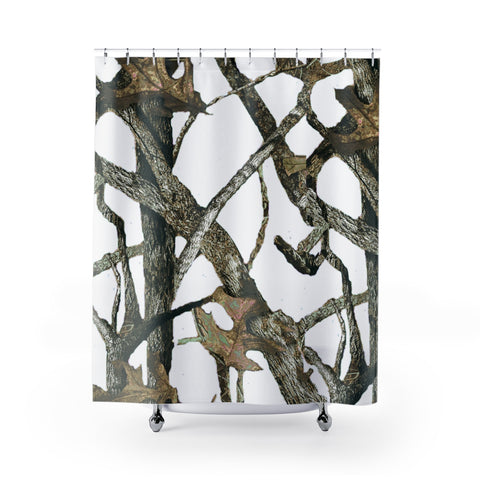 White Camo Shower Curtain - Hunting Patterns Like Mosy Oak