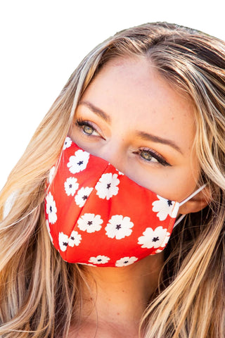 Red Floral Print Face Mask Ships Within 48 Hours