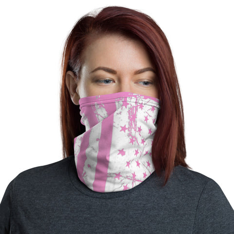 Pink and White American Flag Neck Gaiter For Women