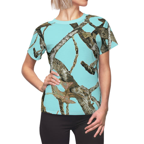 Ladies All Over Print Aqua Teal Camouflage Shirt With Hunting Pattern