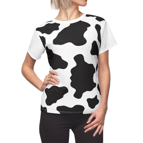 Cow Spots Print Ladies Premium Shirt