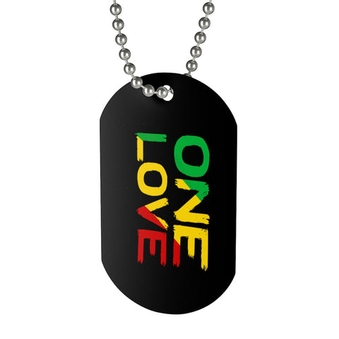 One Love Dog Tag With Rasta Colors