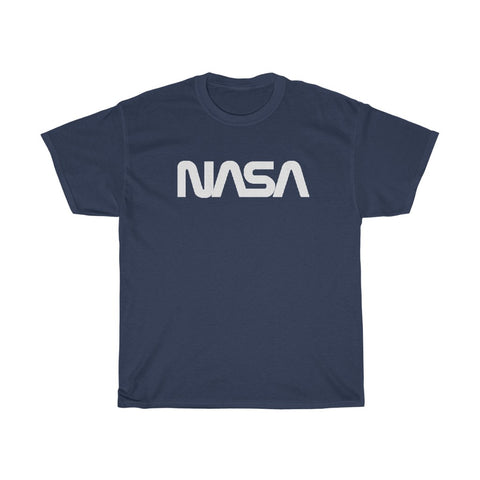 NASA T Shirt With Script Logo on Cotton Tee