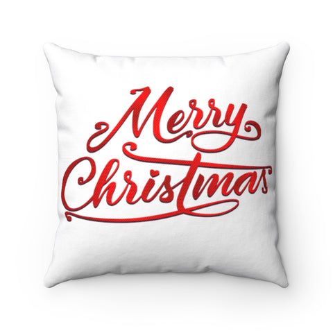 Double Sided Merry Christmas 14 x14 Throw Pillow Spun Polyester Square Pillow