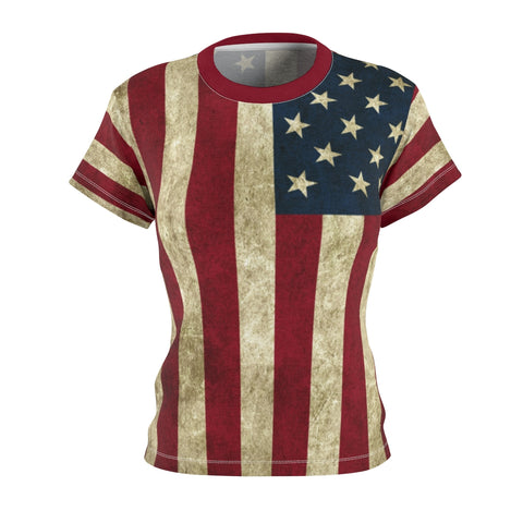 Ladies American Flag Pemium Shirt with All Over Print
