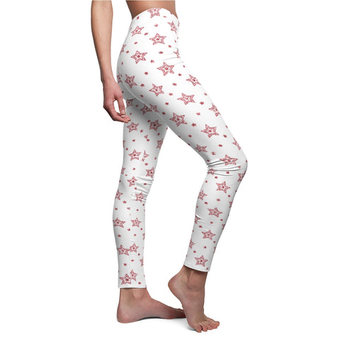 Red and White Stars Christmas Leggings