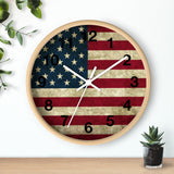 American Flag Wall clock in Grunge Design