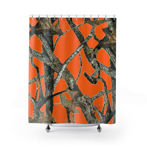 Blaze Orage Camo Shower Curtain with Hunting Pattern