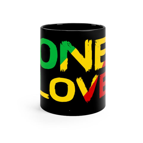 One Love Black mug 11oz For Reggae and Rasta
