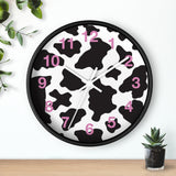 Cow Pattern Wall clock with Pink Numbers