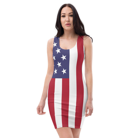 American Flag Fitted Dress Thigh Length