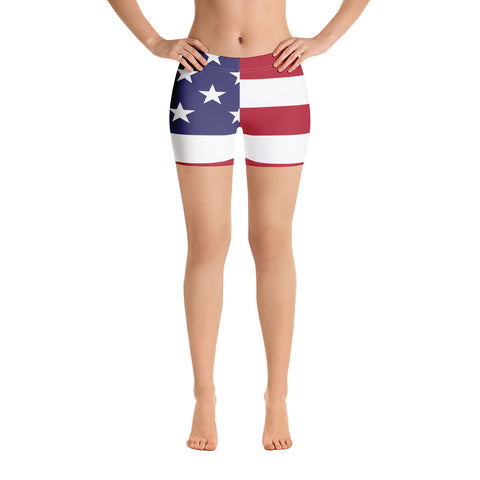 American Flag Workout Shorts Low Waist