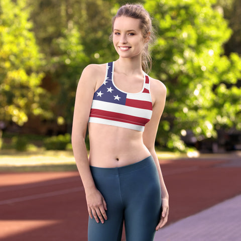 American Flag Padded Sports Bra With Stars and Stripes