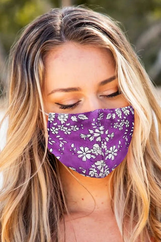 Set of 5 Purple Floral Print Face Mask Bulk