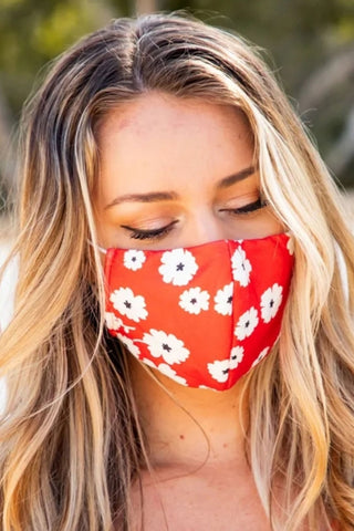 Designer Red Floral Set of 5 Face Masks In Bulk