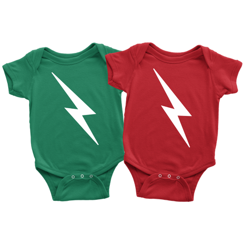Twins Lightning Bolt Onesies  - Green and Red Included Choose Your Size