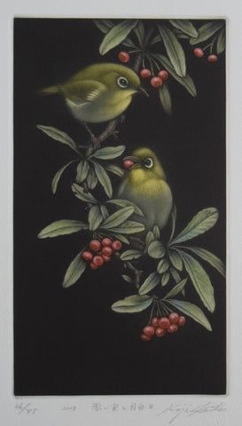 Akaimi to Mejiro  (Red fruit and Japanese white-eye)