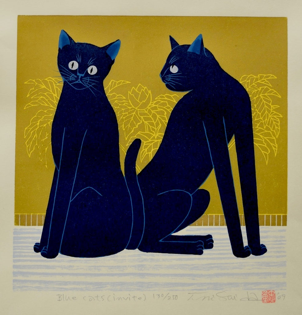 Blue Cats (invite) - SAKURA FINE ART