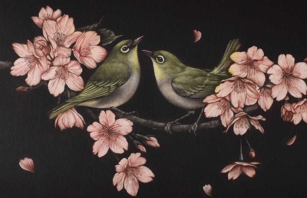 """Sakura ni mutsumu"" (Bush Warblers and Cherry Blossoms) - SAKURA FINE ART"