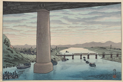 View of under the Ichikawa bridge from Edogawa - SAKURA FINE ART
