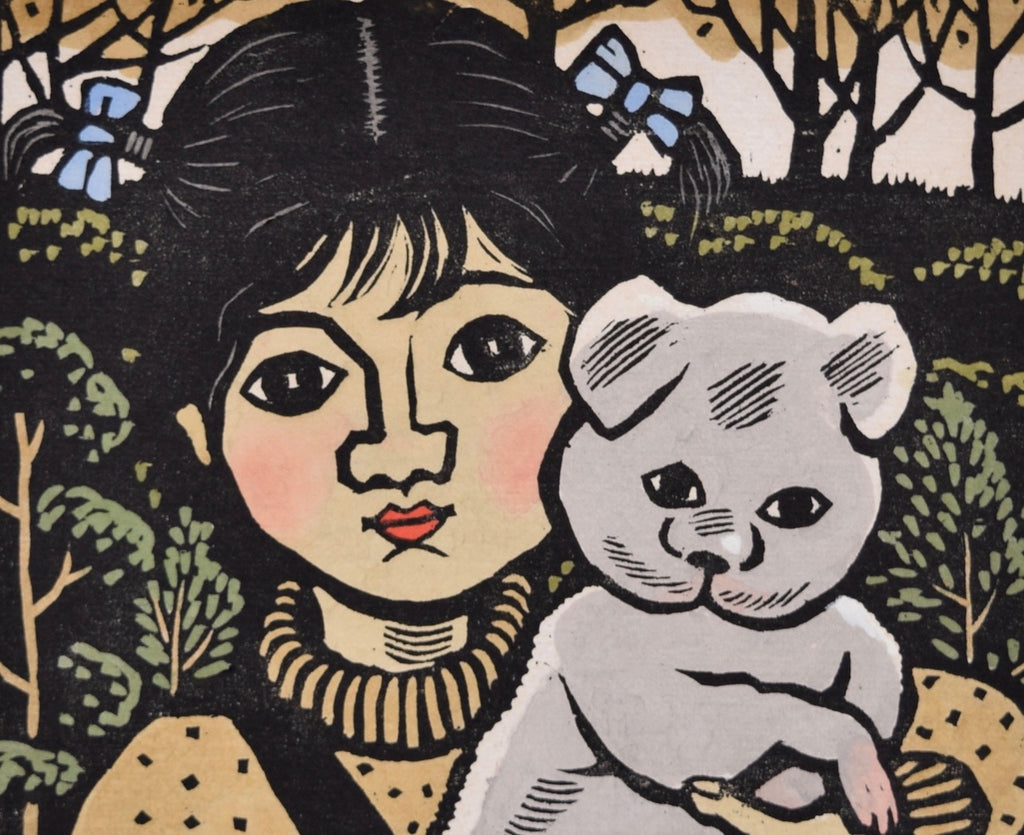 Koinu to Shojo (Girl and Puppy) - SAKURA FINE ART