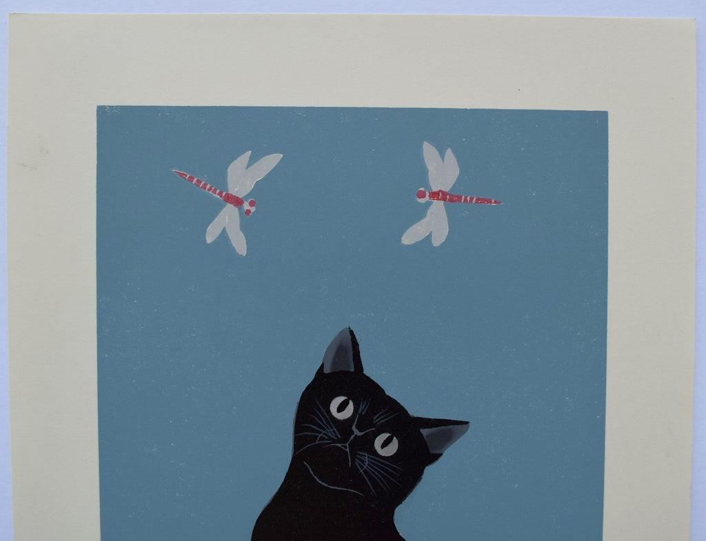 A Cat and Red Dragonflies from Cat series 206