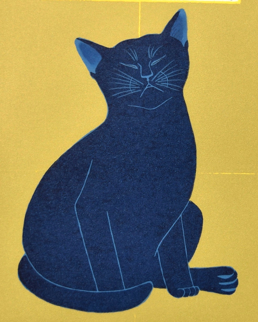 Senshi Bankou - Blue Cat  (Deep Meditation) - SAKURA FINE ART