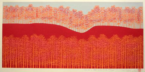 Hirogaru kigi 5 beni-iro  ( Stretch of Trees -red ) - SAKURA FINE ART