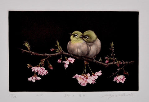 Sakura to Mejito (Japanese - White Eye and Cherry Blossoms) - SAKURA FINE ART