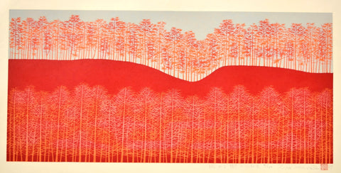 Hirogaru kigi 5 beni-iro  ( Stretch of Trees-red ) - SAKURA FINE ART
