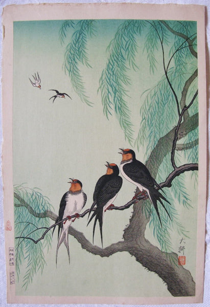 Swallows and Willow Tree