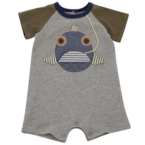 Mud Pie Baby Boys Fish Raglan Shortall (0-3 Months)
