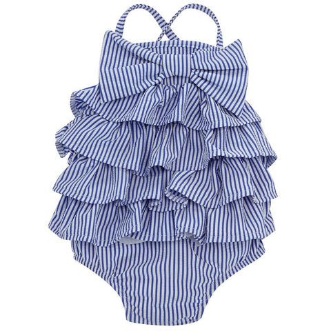 Mud Pie Seersucker Ruffle Bow Swimsuit