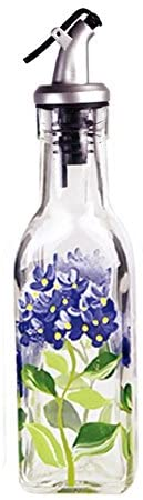 rant Howard Hand Painted 6 oz Square Cruet, Blue Hydrangeas