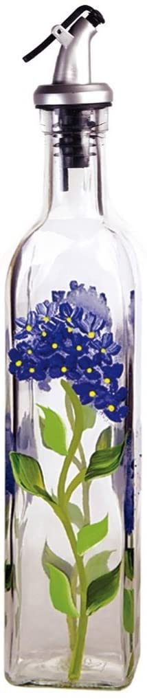 rant Howard Hand Painted 16 oz Square Cruet, Blue Hydrangeas