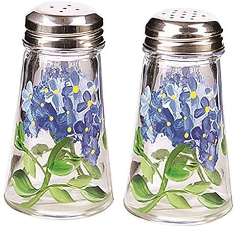Grant Howard Hand Painted Salt and Pepper Shaker Set, Blue Hydrangeas