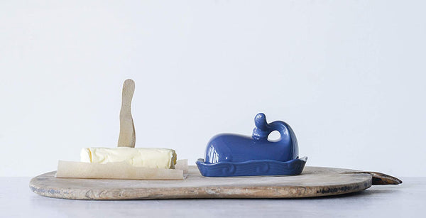 Creative Co-Op Dark Blue Whale Butter Dish with Lid
