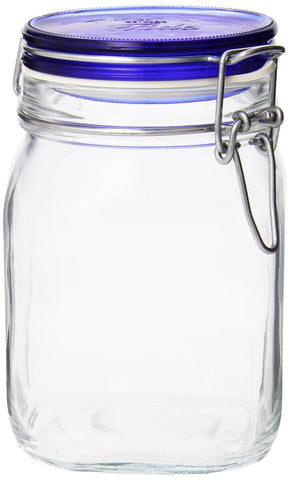 Bormioli Rocco Fido Square Jar with Blue Lid