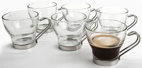 Bormioli Rocco Verdi Espresso Cups With Stainless Steel Handles