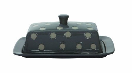 Creative Co-Op Stoneware Butter Dish with Polka Dots