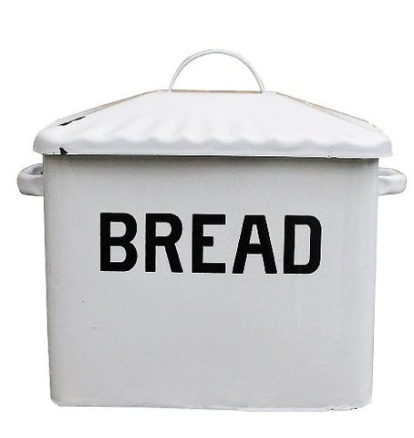 Creative Co-op Vintage Look Enamel Bread Box